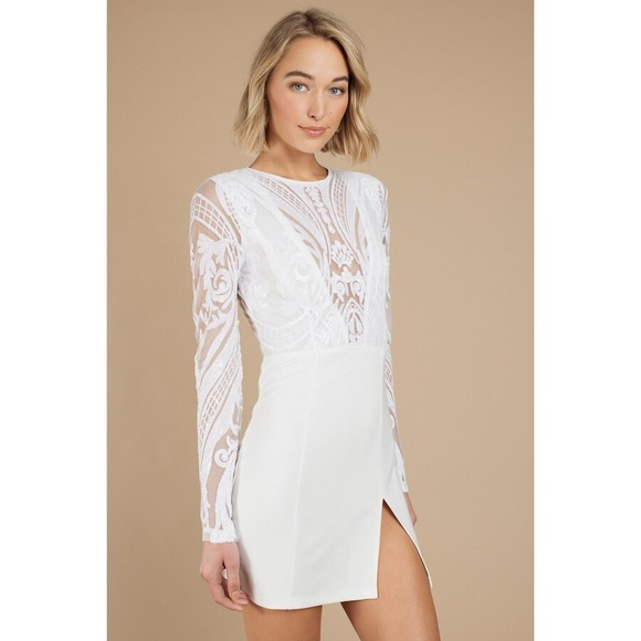b3835410de3 Tobi Harlequin Romance White Sequin Bodycon Dress